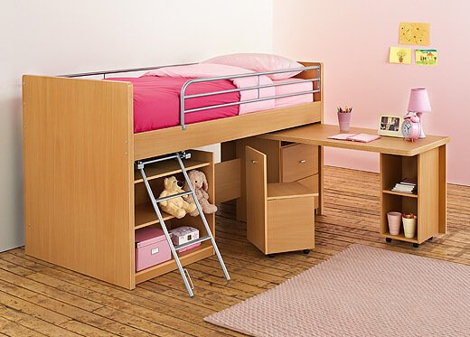Goedkope Kinderkamer Gordijnen : Single Bunk Bed with Desk