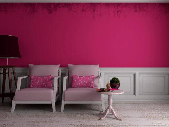 Roze woonkamer
