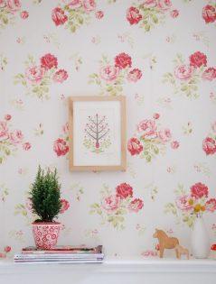 Behang voor een roze meisjeskamer