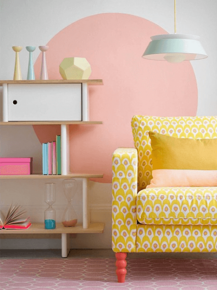 Pastel interieur, woonkamer vol pastelkleuren
