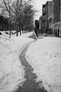 Sneeuwruimen stoep