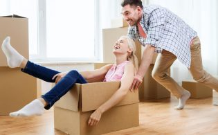 home, people, moving and real estate concept